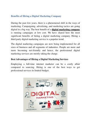 Benefits of Hiring a Digital Marketing Company