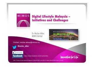 Digital Lifestyle Malaysia - Initiatives and Challenges
