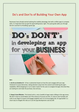 Do's and Don'ts of Building Your Own App