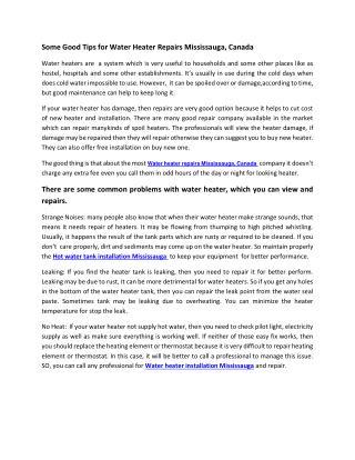 Water Heater Repairs & Installation Mississauga, Canada