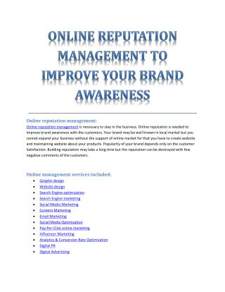 ONLINE REPUTATION MANAGEMENT TO IMPROVE YOUR BRAND AWARENESS