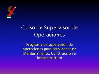 Supervisor de Operaciones