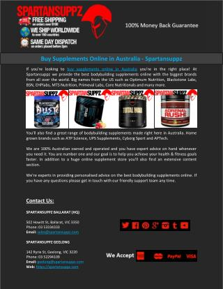 Buy Supplements Online in Australia - Spartansuppz