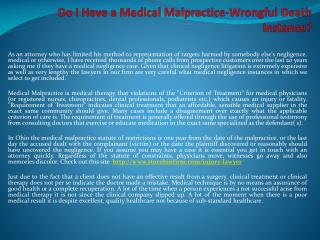 Do I Have a Medical Malpractice-Wrongful Death Instance