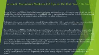 """Geovon K. Martin from Mableton, GA Tips for The Real """"Juice"""" On Juicing"""