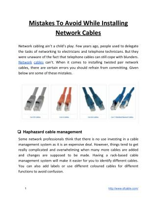 Mistakes To Avoid While Installing Network Cables