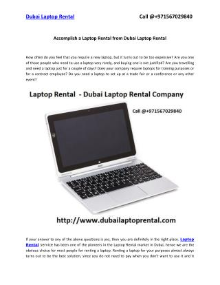Accomplish a Laptop Rental from Dubai Laptop Rental
