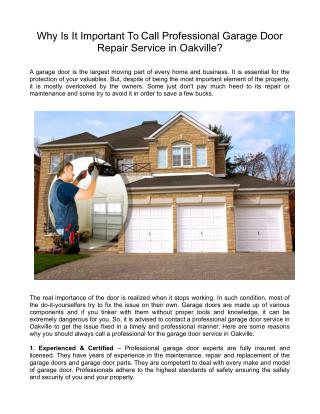Why Is It Important To Call Professional Garage Door Repair Service in Oakville