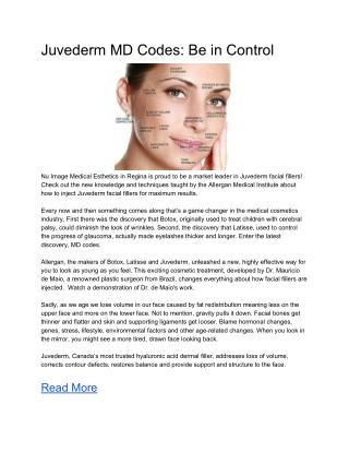 Juvederm MD Codes: Be in Control