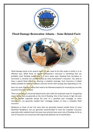 Flood Damage Restoration Atlanta – Some Related Facts