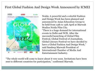 First Global Fashion and Design Week Announced by ICMEI
