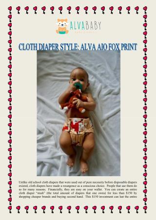 CLOTH DIAPER STYLE: ALVA AIO FOX PRINT