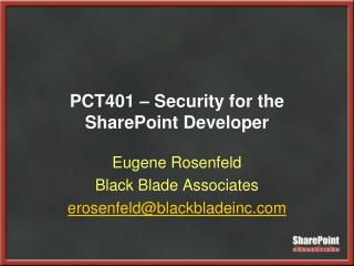 PCT401   Security for the SharePoint Developer
