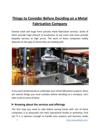 Things to Consider Before Deciding on a Metal Fabrication Company