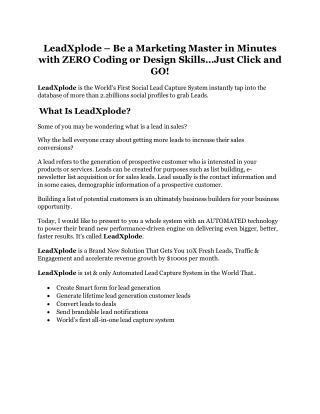 LeadXplode review in particular - LeadXplode bonus