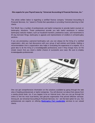 Bankruptcy services in Fort lauderdale