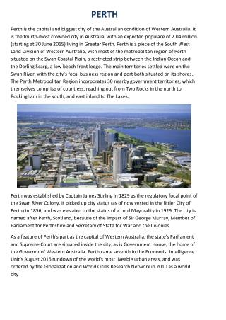 Perth's History,Climate,Religion, governance, Economy,Education,Culture and media