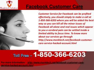 What does Facebook Customer Care mean? Dial 1-850-366-6203