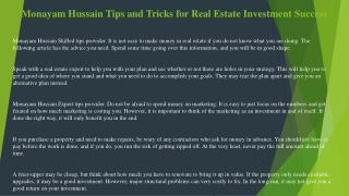 Monayam Hussain Tips and Tricks for Real Estate Investment Success