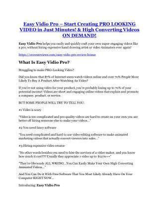 Easy Vidio Pro review demo-- Easy Vidio Pro FREE bonus