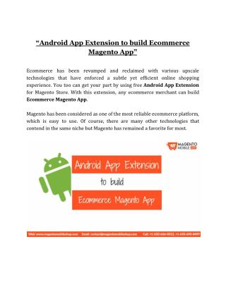 Build Ecommerce Magento App