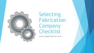 Selecting Fabrication Company Checklist