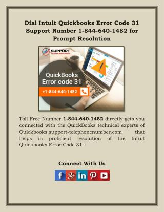 Dial Intuit Quickbooks Error Code 31 Support Number 1-844-640-1482 for Prompt Resolution