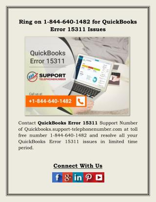Ring on 1-844-640-1482 for QuickBooks Error 15311 Issues