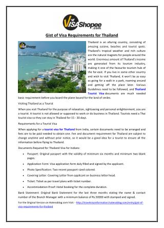 Gist of Visa Requirements for Thailand