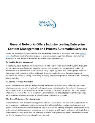 General Networks Offers Industry Leading Enterprise Content Management and Process Automation Services