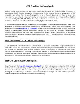 CPT Coaching in Chandigarh