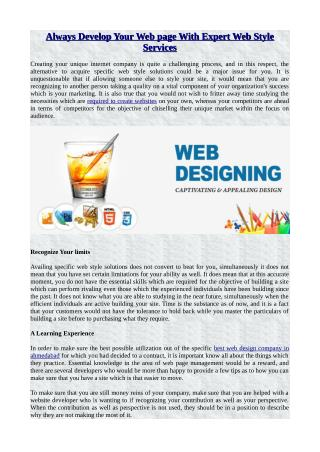 Always Develop Your Web page With Expert Web Style Services