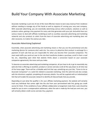 Build Your Company With Associate Marketing