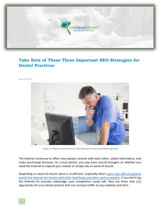 Take Note of These Three Important SEO Strategies for Dental Practices