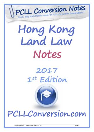 PCLL Conversion Exam Course and Read Contents of Hong Kong Land Law Notes