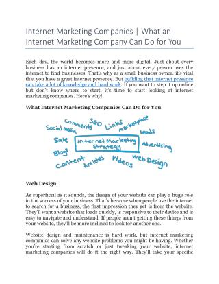 Internet Marketing Companies | What an Internet Marketing Company Can Do for You