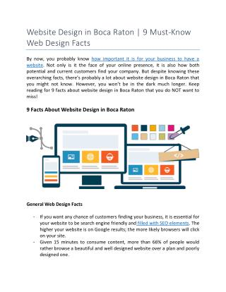 Website Design in Boca Raton | 9 Must-Know Web Design Facts