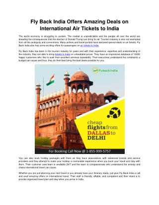 Fly Back India Offers Amazing Deals on International Air Tickets to India