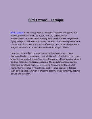 Bird Tattoos-Tattapic