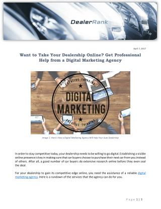 Want to Take Your Dealership Online? Get Professional Help from a Digital Marketing Agency