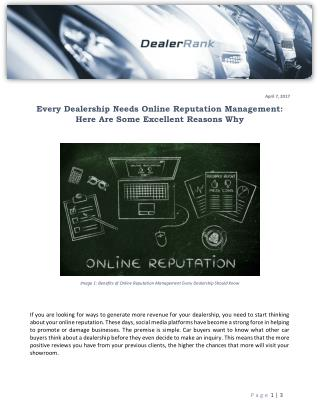 Every Dealership Needs Online Reputation Management: Here Are Some Excellent Reasons Why
