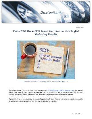 These SEO Hacks Will Boost Your Automotive Digital Marketing Results