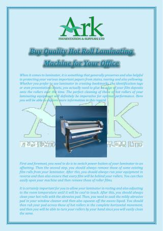 Buy Quality Hot Roll Laminating Machine for Your Office