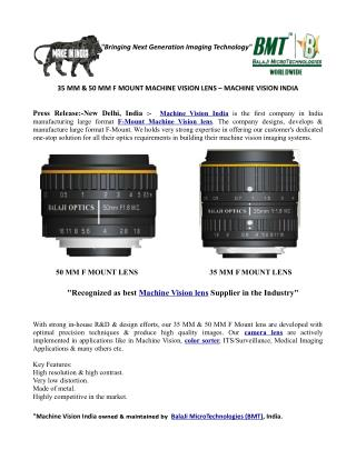 35 MM & 50 MM F MOUNT MACHINE VISION LENSES – MACHINE VISION INDIA