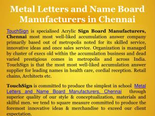 Metal Letters and Name Board Manufacturers in Chennai