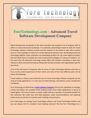 Travel Software Solution Company