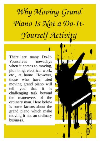 Why Moving Grand Piano Is Not a Do-It-Yourself Activity