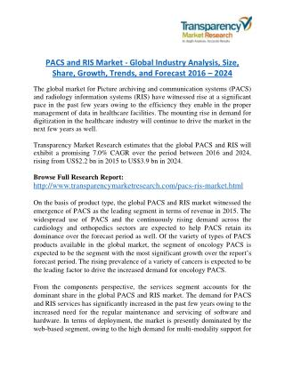 PACS and RIS Market Research Report Forecast to 2024