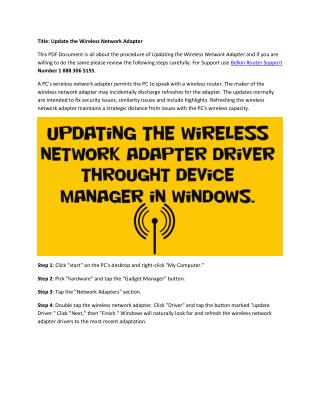 Update the wireless network adapter
