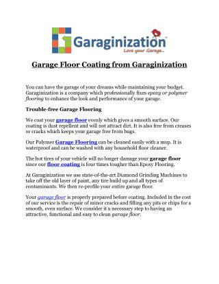 Garage Floor Coating from Garaginization
